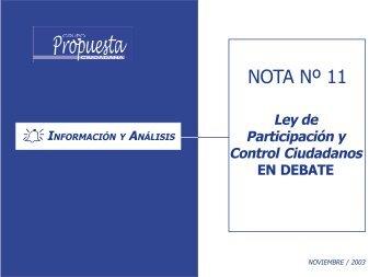 Nota de Información y Análisis # 11 - Grupo Propuesta Ciudadana