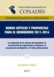 Nudos críticos y propuestas para el quinquenio 2011 - Grupo ...
