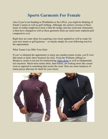 Sports Garments For Female