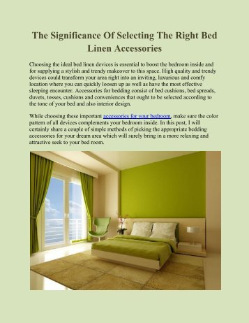 The Significance Of Selecting The Right Bed Linen Accessories