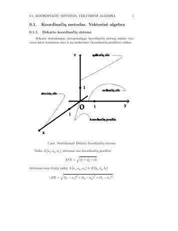 0.1. Koordinačių metodas. Vektorinė algebra - techmat.vgtu.lt