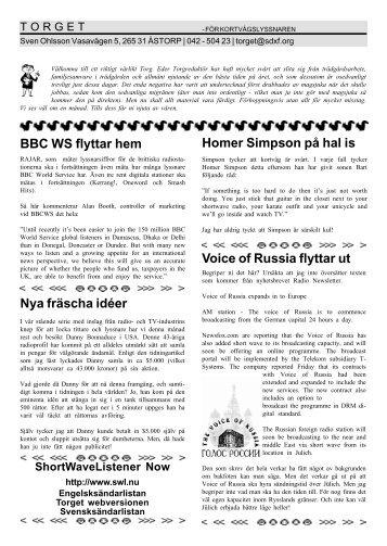 Voice of Russia flyttar ut Homer Simpson på hal is BBC WS flyttar ...