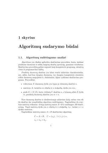1 skyrius Algoritmų sudarymo būdai - techmat.vgtu.lt