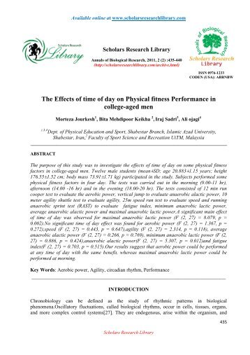 The Effects of time of day on Physical fitness Performance in college ...