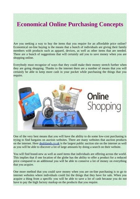 Economical Online Purchasing Concepts