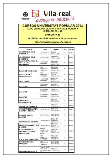 Matricula i preus campanya 56 Universitat Popular - Ajuntament de ...