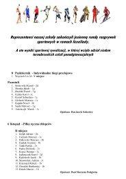 wyniki sportowej rywalizacji - Zespół Szkół Ponadgimnazjalnych nr 3