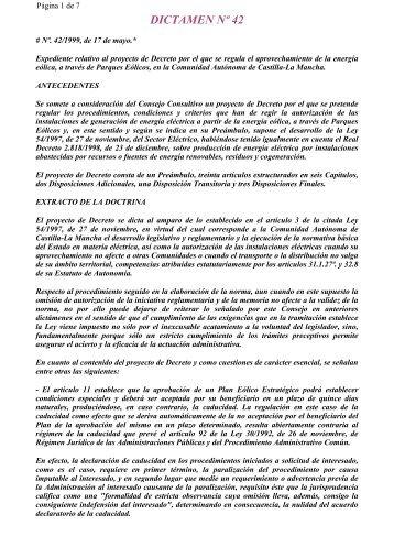 DICTAMEN Nº 42 - Consejo Consultivo de Castilla-La Mancha