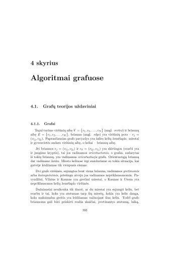 4 skyrius Algoritmai grafuose - techmat.vgtu.lt