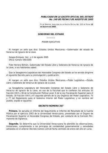decreto numero 267, mediante el cual se aprueba el informe del ...
