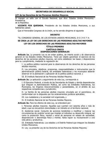 LEY de los Derechos de las Personas Adultas Mayores.