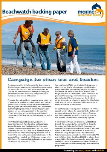 Beachwatchbacking paper - Marine Conservation Society