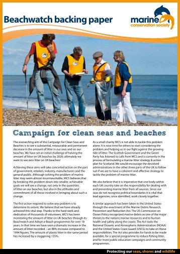 Beachwatchbacking paper - Marine Conservation Society