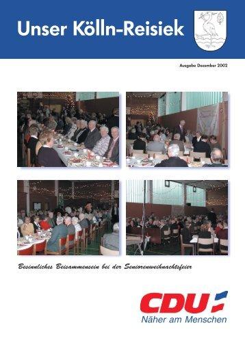CDU-Zeitung Dezember 2002 - CDU OV Kölln-Reisiek