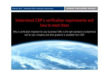 understand cdp's verification requirements - Carbon Disclosure  Project