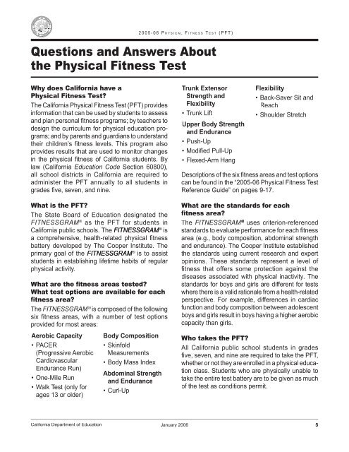 Questions and Answers - Physical Fitness Test - Oakdale