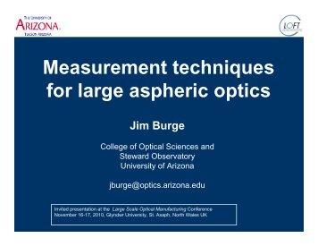 Measurement techniques for large aspheric optics - LOFT, Large ...