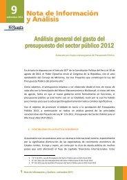 Análisis general del gasto del presupuesto del sector público 2012