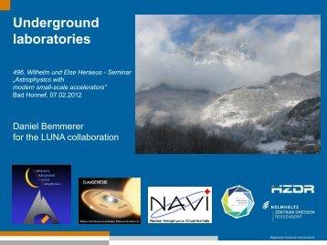 Underground laboratories