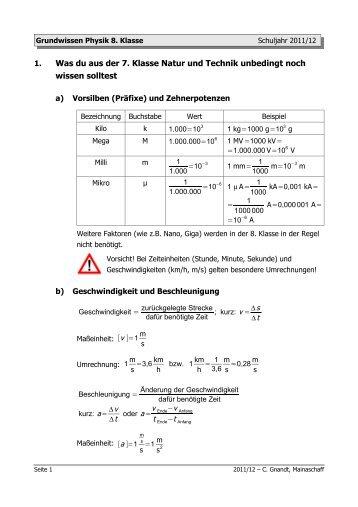 Grundwissen Physik 8. Klasse - Teil 1 - von Christoph Gnandt
