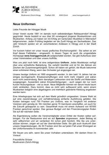 Neue Uniformen - Musikverein Zürich-Höngg