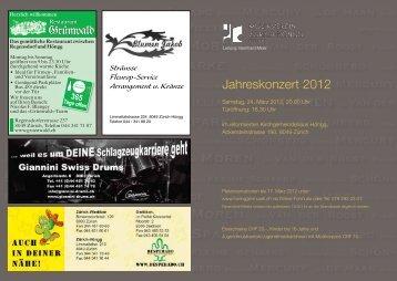 Jahreskonzert 2012 - Musikverein Zürich-Höngg