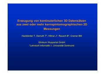 Erzeugung von kontinuierlichen 3D-Datensätzen aus zwei oder ...