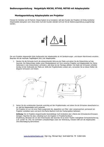 Bedienungsanleitung Neigekopf mit Adapterplatten - kunstmechanik