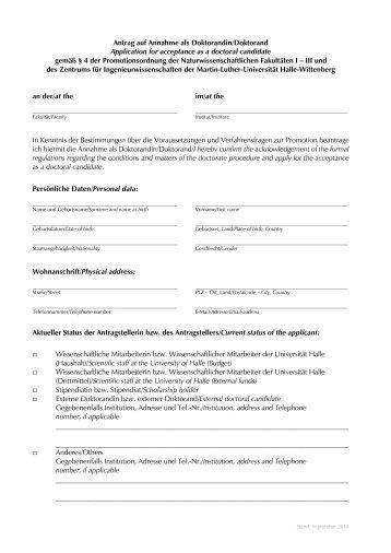 Antrag auf Annahme zur Promotion - Martin-Luther-Universität Halle ...