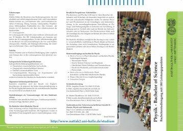 Physik - Bachelor of Science - Naturwissenschaftliche Fakultät II ...