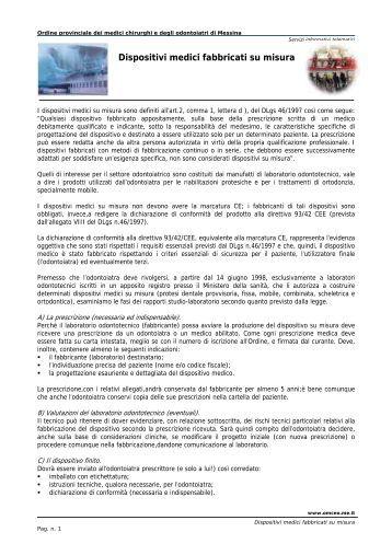 Dispositivi medici fabbricati su misura - Ordine dei Medici di Messina