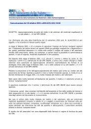 Comunicazione Ministeriale del 10 Ottobre 2001 - Ordine dei Medici ...