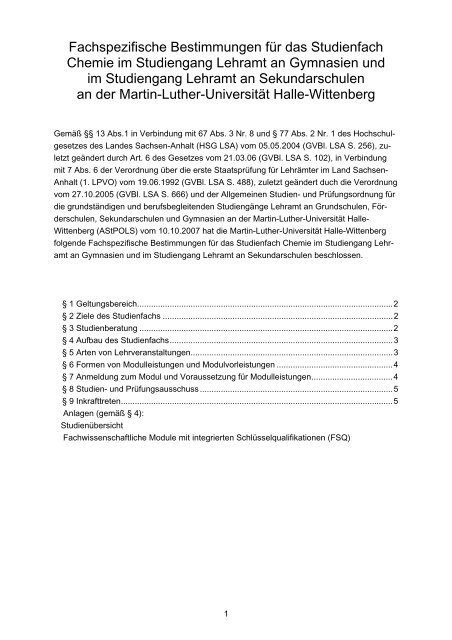 Allgemeine Studien - Naturwissenschaftliche Fakultät II - Chemie ...