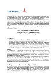 Fachärztin / Facharzt für Anästhesie in der Region ... - narkose.ch