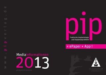 Mediainformationen www . pip v erla g .de + ePaper + App !
