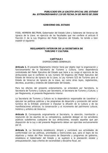 reglamento interior de la secretara de turismo y cultura