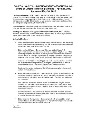 Board of Directors Meeting Minutes – April 24, 2013 Approved May ...