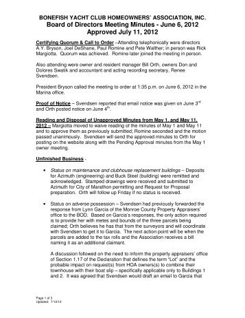 Board of Directors Meeting Minutes - June 6, 2012 Approved July 11 ...