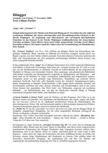 Höngger - Kirchenkonzert 12.11.2000 - Musikverein Eintracht Hoengg