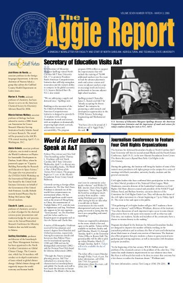 a biweekly newsletter for faculty and staff of - North Carolina ...