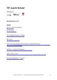 Linkliste zu ´Ö1 macht Schule´_Stand 101116