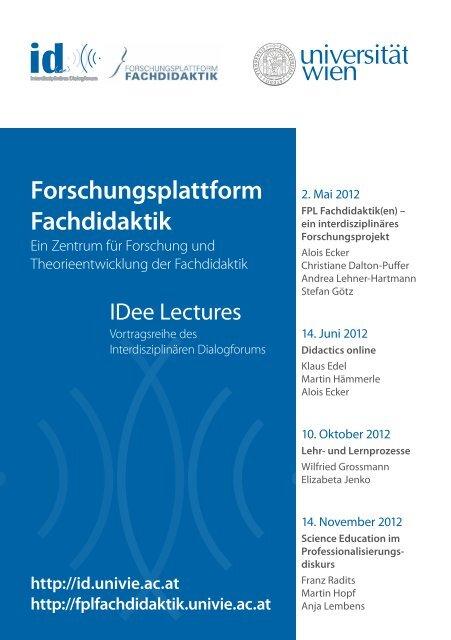 Einladung und detailliertes Programm - Fachdidaktikzentrum ...