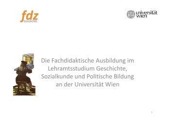 Die Fachdidaktische Ausbildung im Lehramtsstudium Geschichte ...