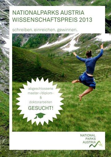 nationalparks austria wissenschaftspreis 2013