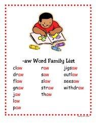 -aw Word Family List