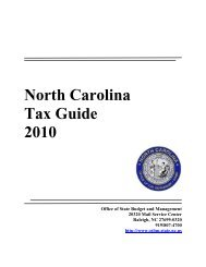 North Carolina Tax Guide 2010 - Office of State Budget and ...