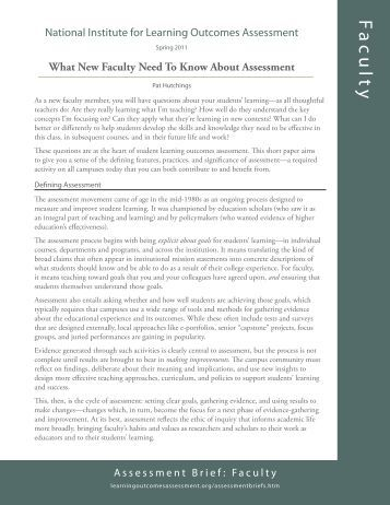 What new faculty need to know about assessment - National Institute ...