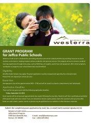 for Jeffco Public Schools GRANT PROGRAM - Westerra Credit Union