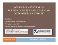 voluntary system of accountability and learning outcomes: an update