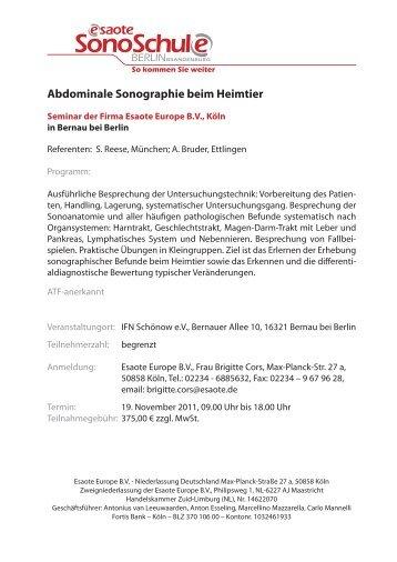 Abdominale Sonografie beim Heimtier - WEBPROJAGGT